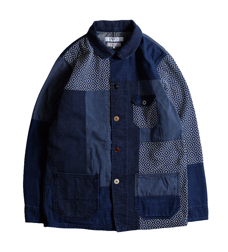 Boro Patchwork Coverall Jacket (Rinse Indigo)