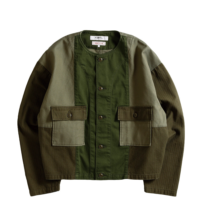 Patchwork No-Collar Jacket (Rinse Khaki)