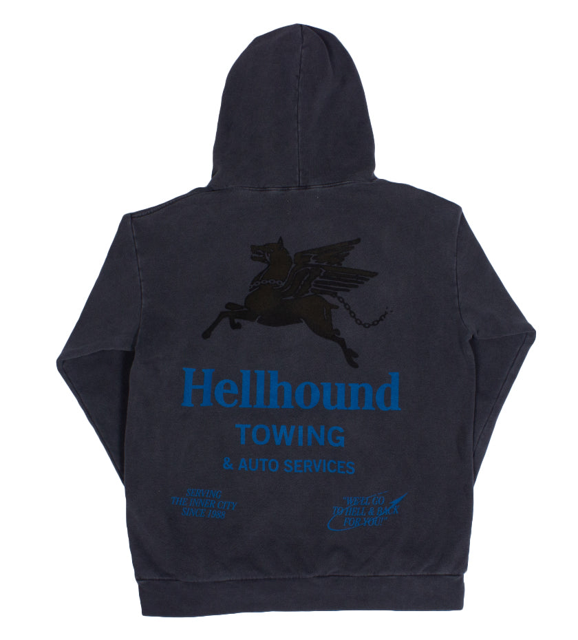 Hellhound Towing Hoodie (Black Pigment Dyed)