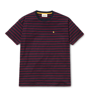 Women's S/S Haldon Stripe T-Shirt (Dark Navy / Merlot)