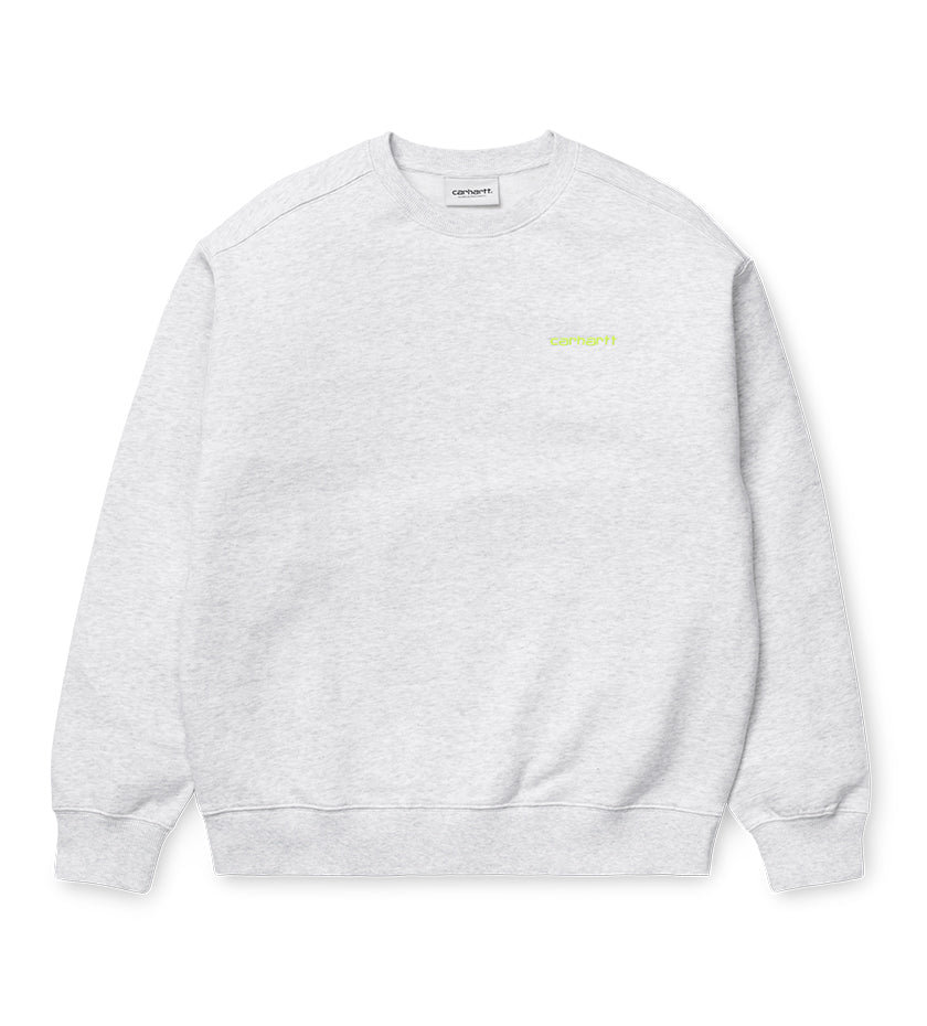 Women's Script Embroidery Sweat (Ash Heather / Lime)