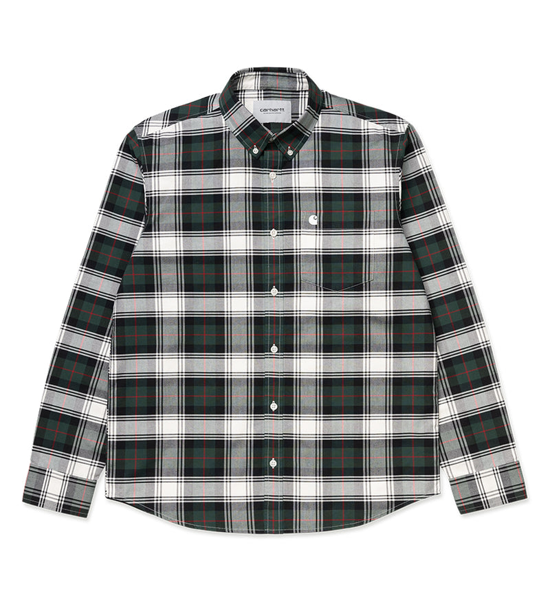 L/S Steen Check Shirt (Bottle Green)