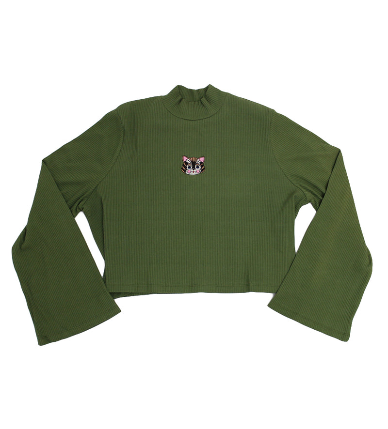 Kitty Rib Long Sleeve Top (Green)