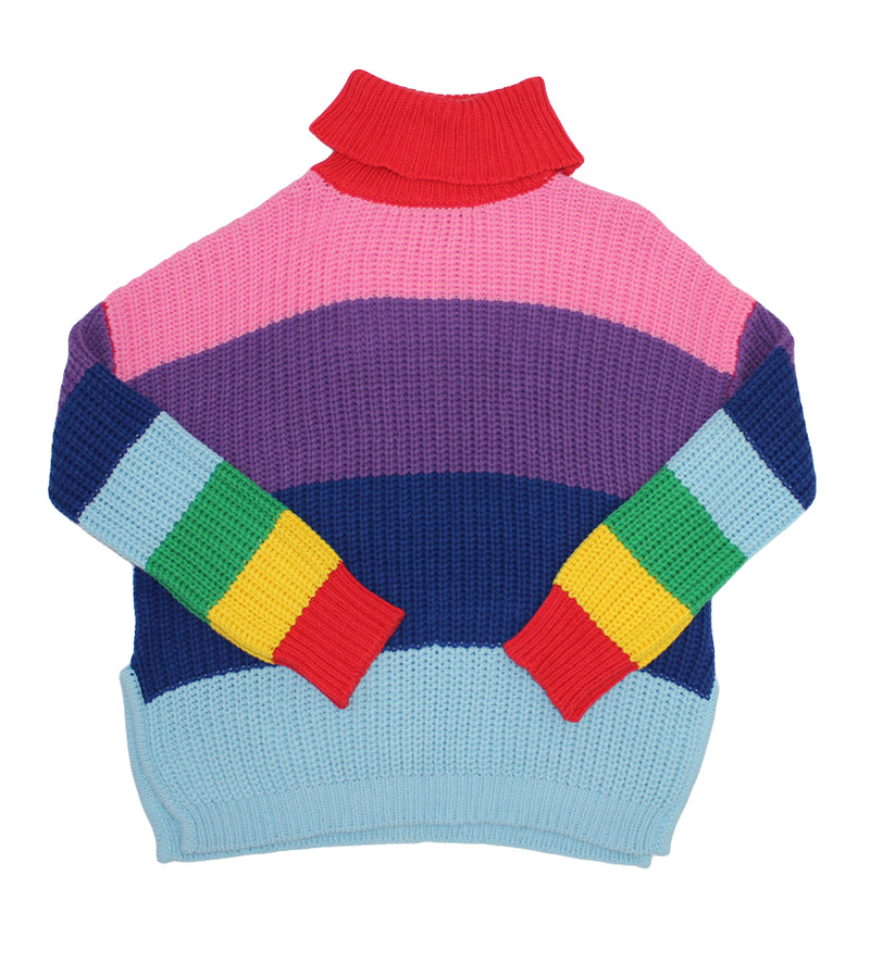 Lazy Rainbow Knit Roll Neck (Rainbow Stripe)