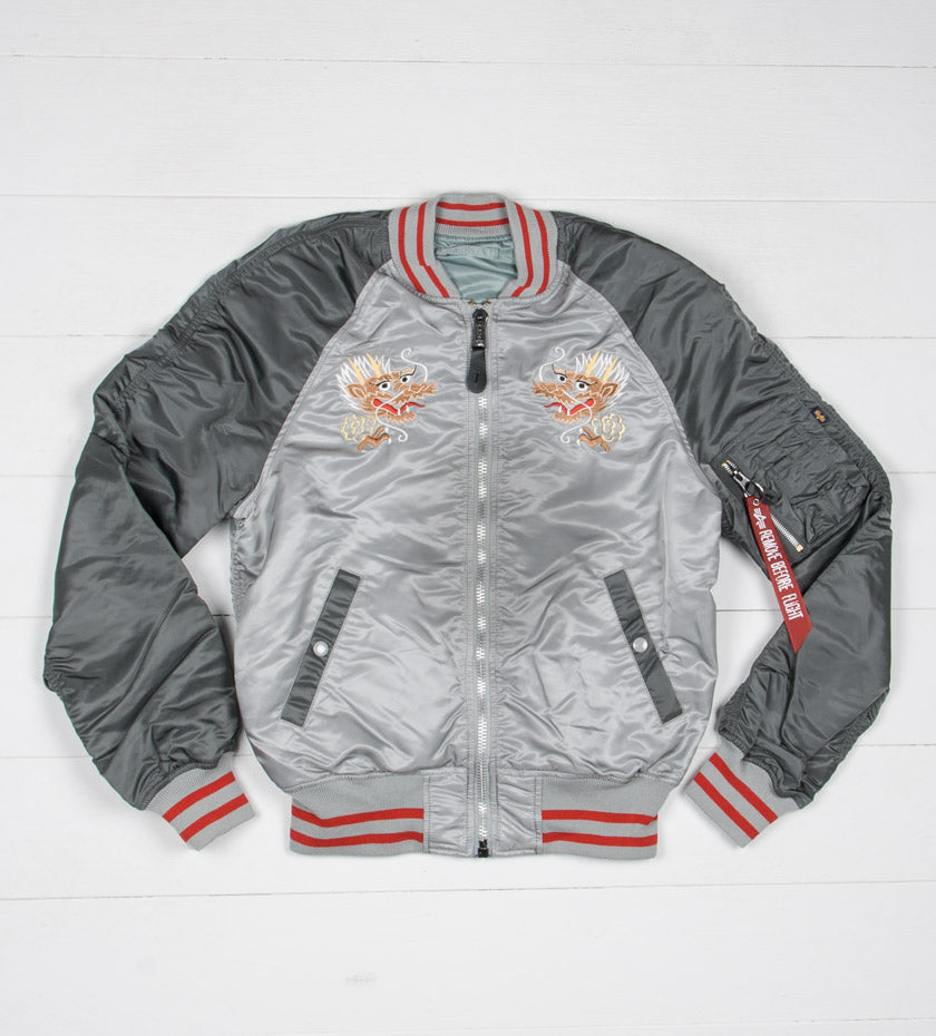 MA-1 Souvenir Jacket Double Dragon (New Silver/Silver Blue)
