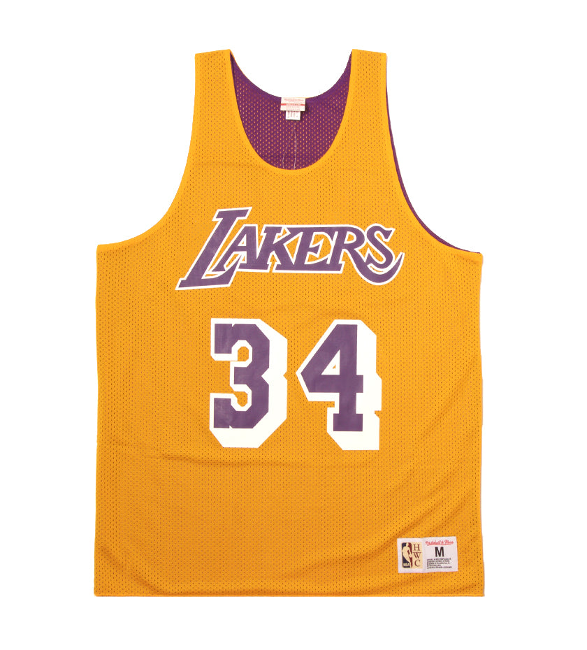 a37a6c3a87e Lakers 1996 Shaquille O Neal Reversible Mesh Tank (Light Gold Purple)