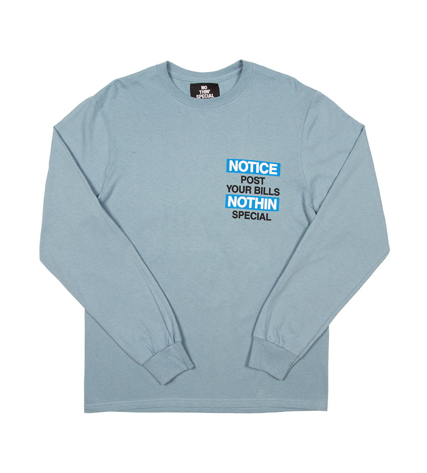 Notice L/S Tee (Stonewashed Blue)