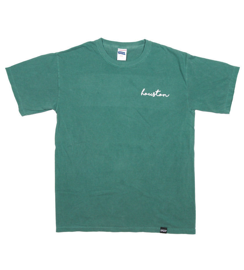 Houston Cursive Tee (Light Green)