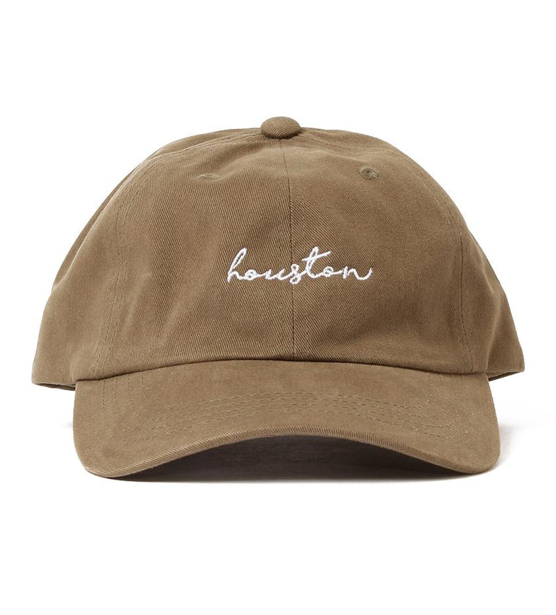Houston Cursive Dad Hat (Olive/White)