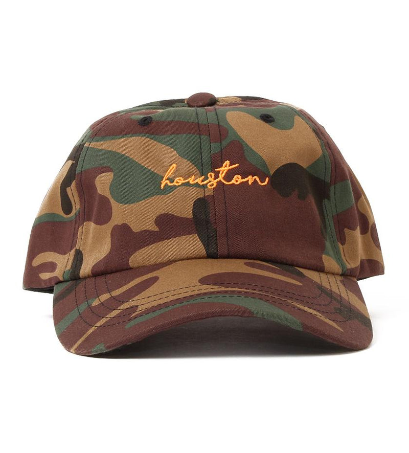 Houston Cursive Dad Hat (Camo/Orange)