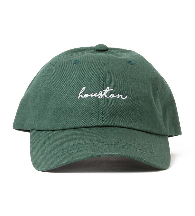 Houston Cursive Dad Hat (Green/White)