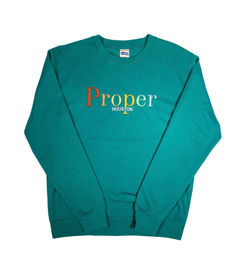 Proper Houston Fall Multi Crewneck (Bottle Green)