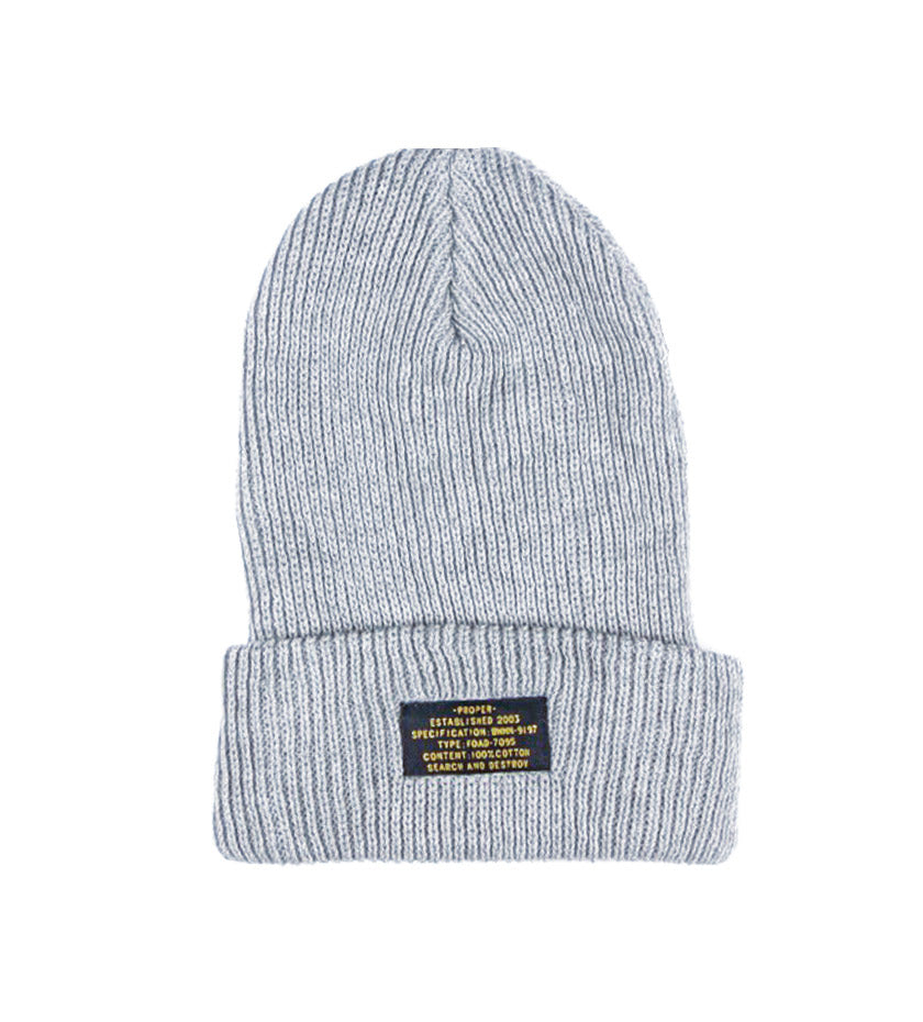 Patch Beanie (Grey Heather)