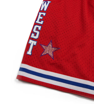 1988 NBA All-Star West Rhinestone Swingman Short (Red)