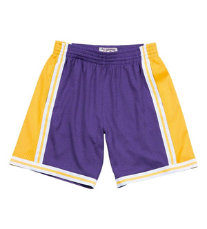 1984-85 LA Lakers NBA Swingman Road Shorts (Purple / Gold)