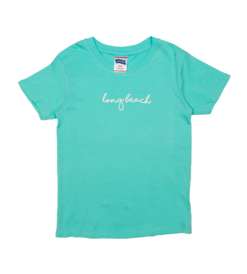 Long Beach Cursive Kids Tee (Seafoam)