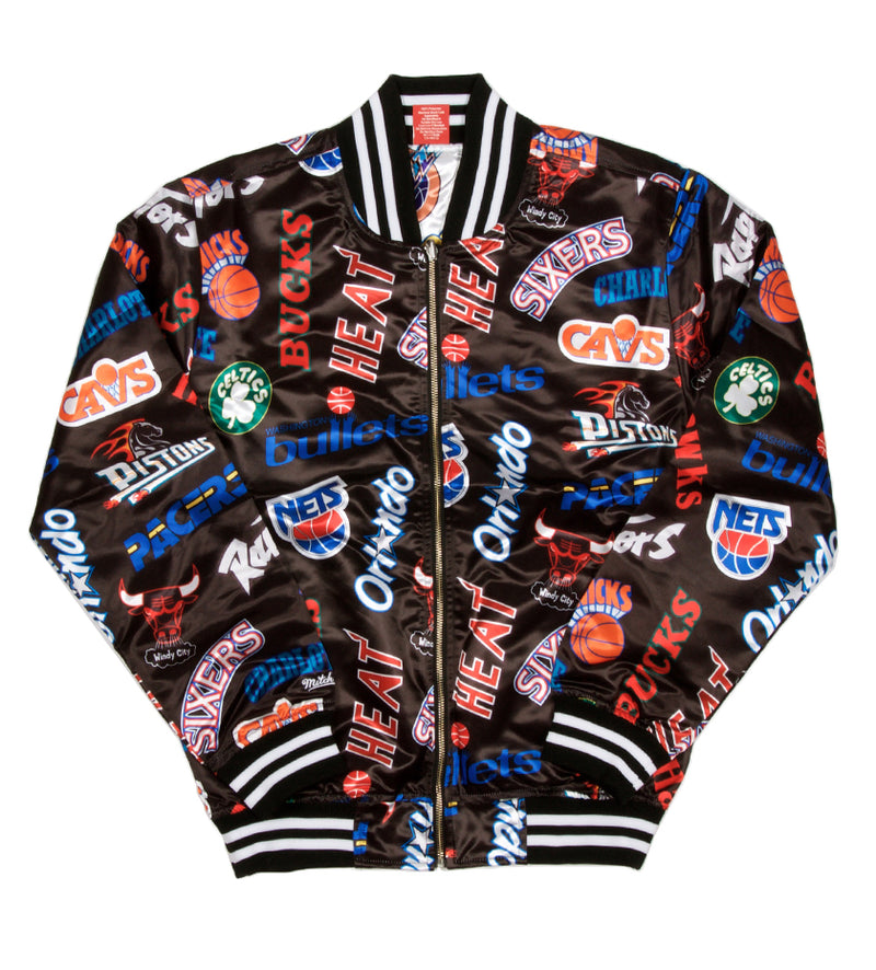 All-Over Reversible East/West Satin Jacket (White/Black)