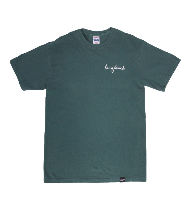 Long Beach Cursive Tee (Forest Green)