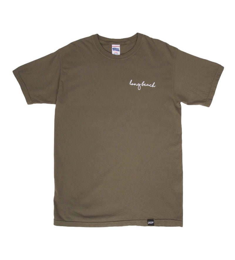 Long Beach Cursive Tee (Olive)