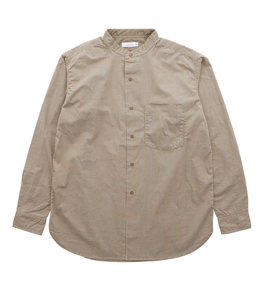 Band Collar Wind Shirt (Beige / Brown)