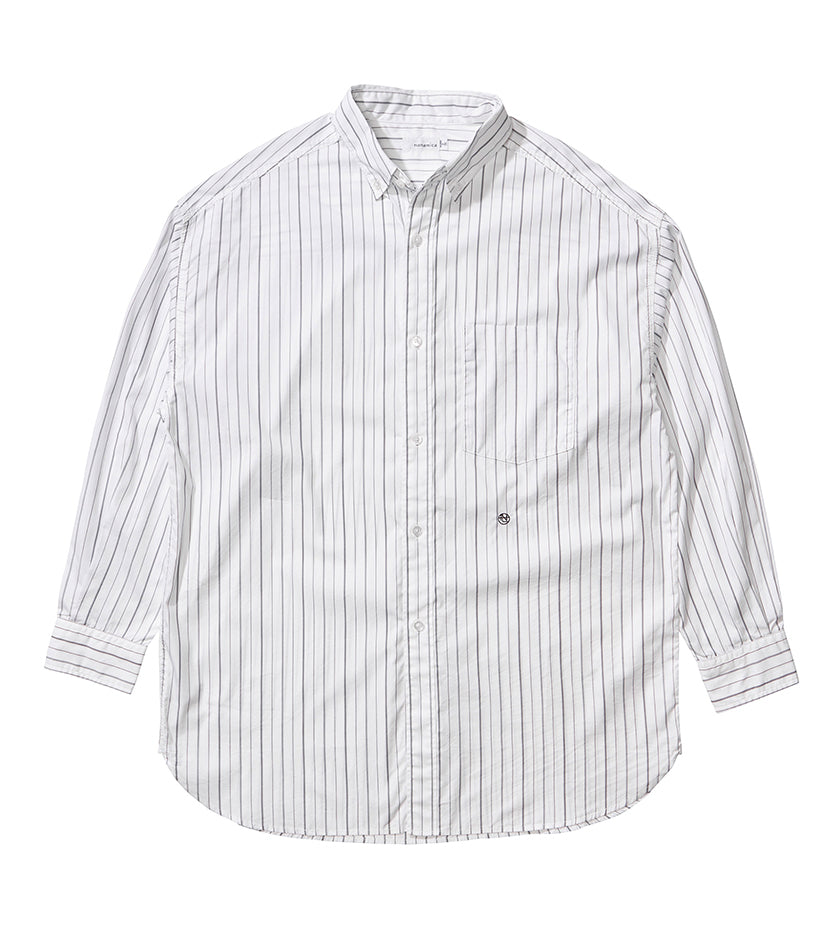Big Button Down Wind Stripe Shirt (White)