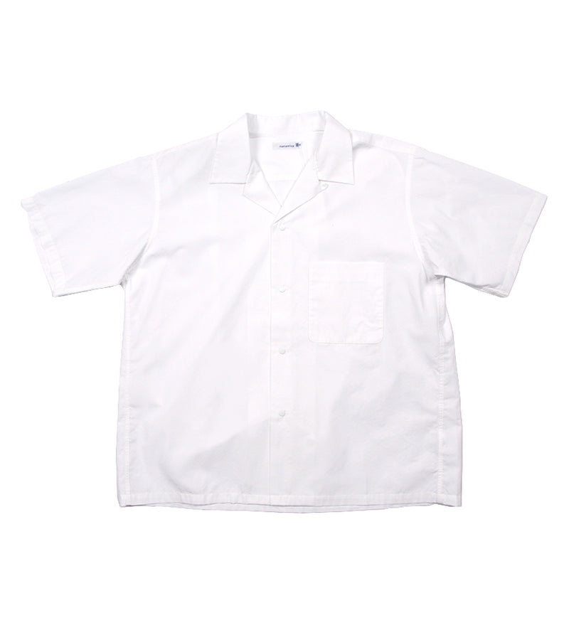 Open Collar Wind H/S Shirt (White)