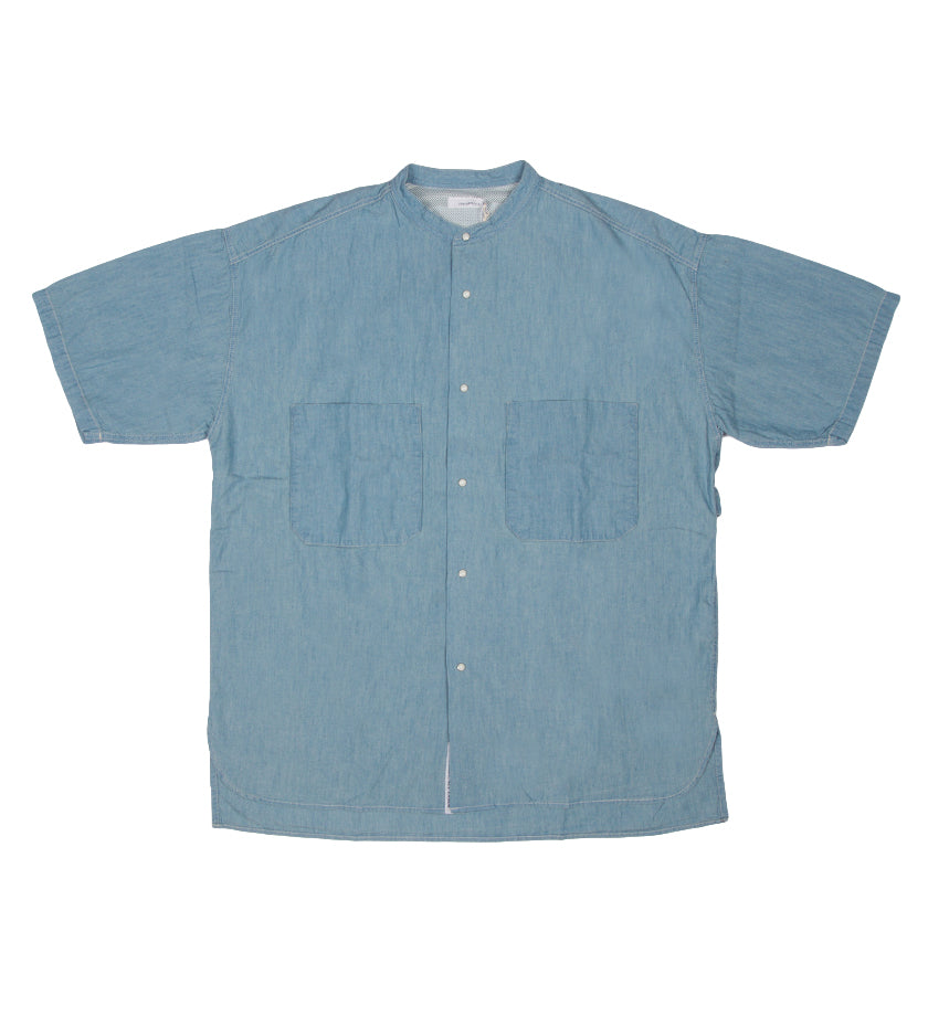 Big Band Collar Wind H/S Shirt (Indigo Bleach)