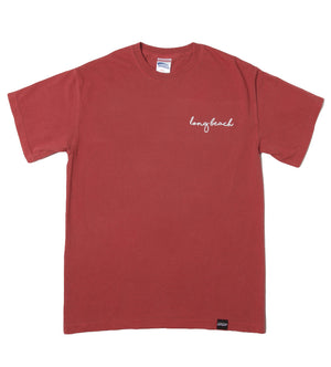 Long Beach Cursive Tee (Crimson)