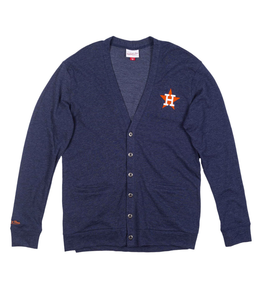 Houston Astros French Terry Button Front Cardigan (Navy)