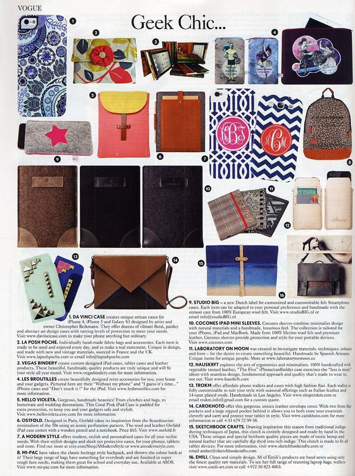 Da Vinci Case and The Artwork of Christopher Beikmann Featured In VOGUE (UK) May 2013