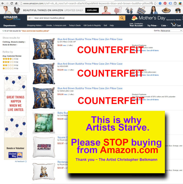 Amazon counterfeit pillows featuring stolen artwork - amazon.com copyright infringement. artists unite against amazon
