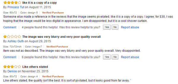 customer reviews of counterfeit products on amazon.com with artwork stolen from artists