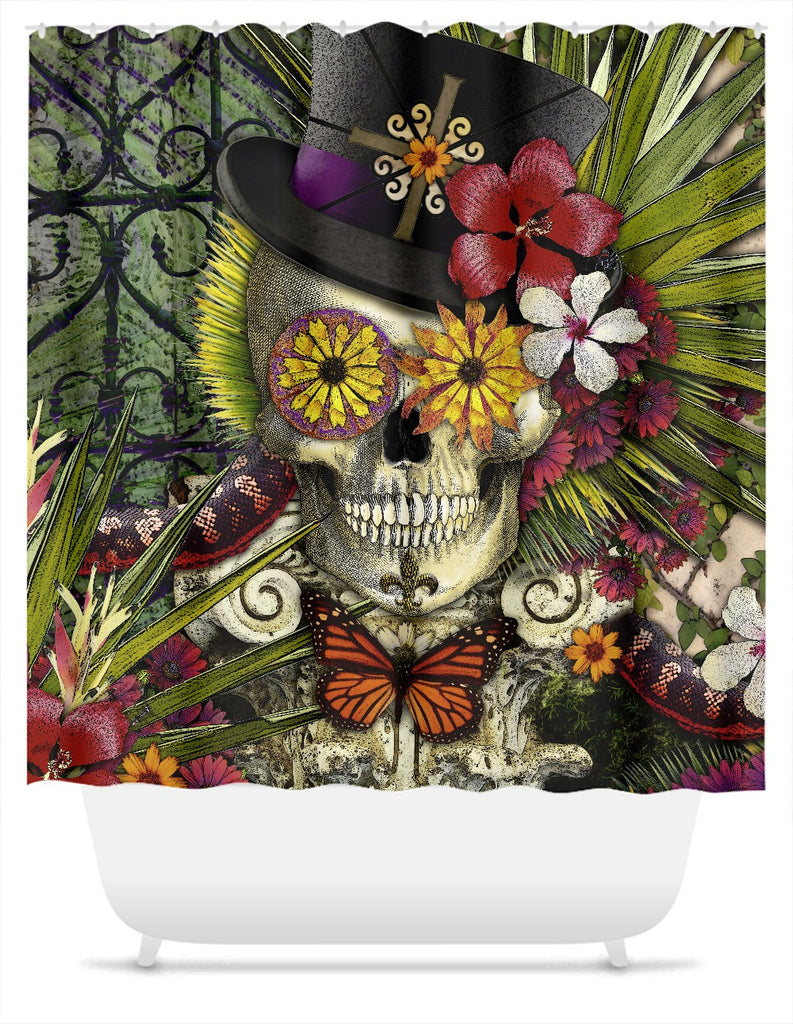 Baron in Bloom Shower Curtain - New Orleans Baron Samedi Skull Art - Shower Curtain - Fusion Idol Arts - New Mexico Artist Christopher Beikmann