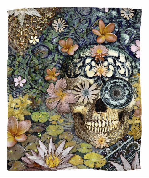 Floral Balinese Style Skull Art Fleece Blanket - Bali Botaniskull - Fleece Blanket - Fusion Idol Arts - New Mexico Artist Christopher Beikmann