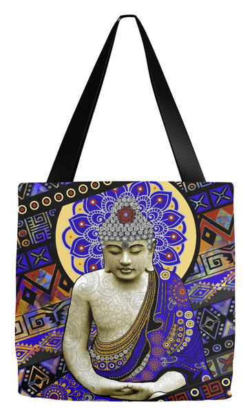 Colorful Tribal Buddha Tote Bag - Rhythm of My Mind - Tote Bag - Fusion Idol Arts - New Mexico Artist Christopher Beikmann