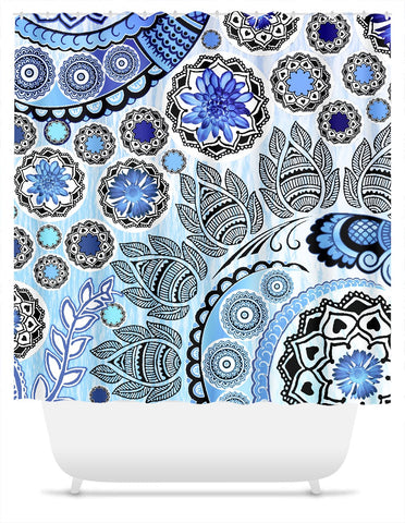 Blue Paisley Shower Curtain - Blue Mehndi - Shower Curtain - Fusion Idol Arts - New Mexico Artist Christopher Beikmann