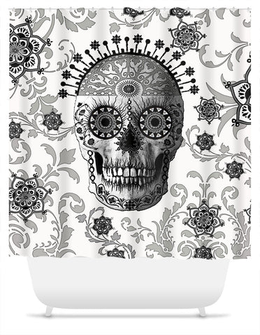 Black and White Paisley Sugar Skull Shower Curtain - Victorian Bones - Fusion Idol Arts