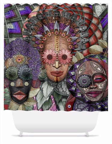 Colorful Triple Goddess Shower Curtain - Ladies Night - Shower Curtain - Fusion Idol Arts - New Mexico Artist Christopher Beikmann