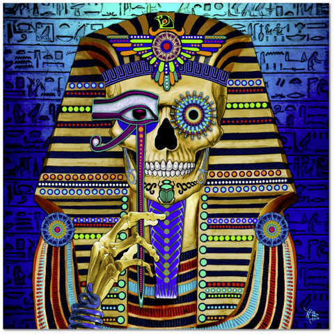 Egyptian Skull Day of the Dead Art Canvas Print - Funky Bone Pharaoh - Fusion Idol - Art and Gifts by Artist Christopher Beikmann - 1