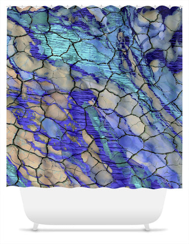 Desert Memories - Blue and Tan Abstract Shower Curtain - Fusion Idol Arts