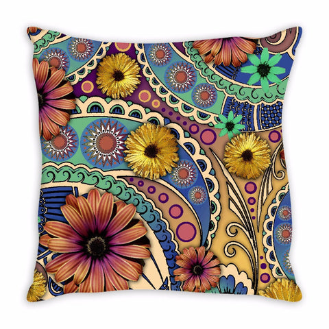 Colorful Daisy Floral Throw Pillow - Petals and Paisley - Fusion Idol Arts