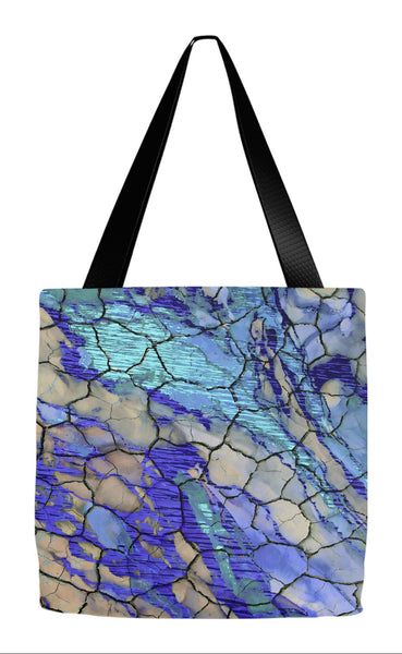 Blue Desert Abstract Art Tote Bag - Desert Memories - Tote Bag - Fusion Idol Arts - New Mexico Artist Christopher Beikmann