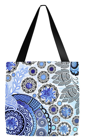 Blue Paisley Floral Art Tote Bag - Blue Mehndi - Tote Bag - Fusion Idol Arts - New Mexico Artist Christopher Beikmann