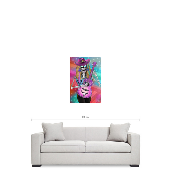 Country Western Day of The Dead Art Canvas - Sugar Skull - Scary Underwood - Premium Canvas Gallery Wrap - Fusion Idol Arts - New Mexico Artist Christopher Beikmann