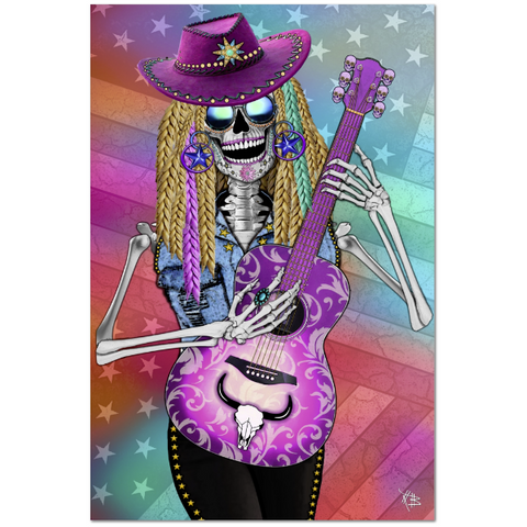 Country Western Day of The Dead Art Canvas - Sugar Skull - Scary Underwood - Fusion Idol - Art and Gifts by Artist Christopher Beikmann - 1