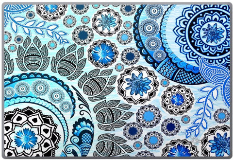Blue Mehndi - Blue, White and Purple Paisley Floral Laptop Vinyl Skin Decal - Laptop Skin Decal - 1