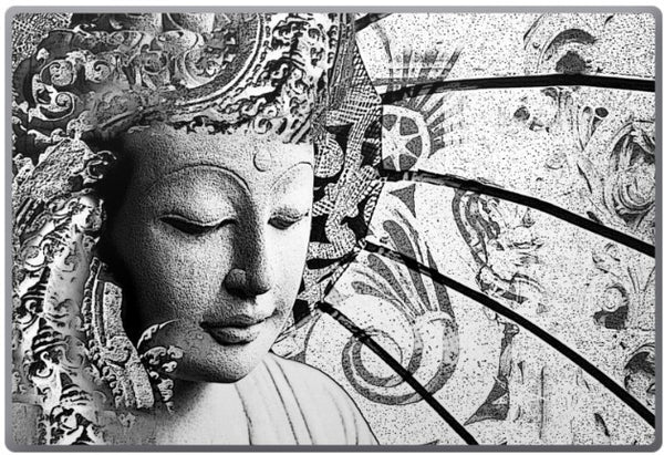 Bliss of Being - Black and White Zen Buddha Laptop Vinyl Skin Decal - Fusion Idol Arts