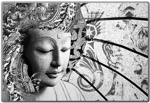 Bliss of Being - Black and White Zen Buddha Laptop Vinyl Skin Decal - Laptop Skin Decal - Fusion Idol Arts - New Mexico Artist Christopher Beikmann