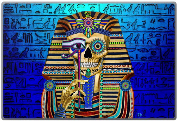 Egyptian Sugar Skull - Funky Bone Pharaoh - Day of the Dead - King Tut Laptop Vinyl Skin Decal - Fusion Idol Arts