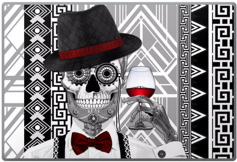 1920's Gentlemen Sugar Skull - Mr JD Vanderbone - Day of the Dead - Art Deco Laptop Vinyl Skin Decal - Laptop Skin Decal - Fusion Idol Arts - New Mexico Artist Christopher Beikmann